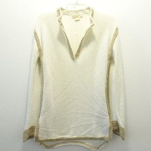 Michael Kors Cream Knit Sweater Small V-neck
